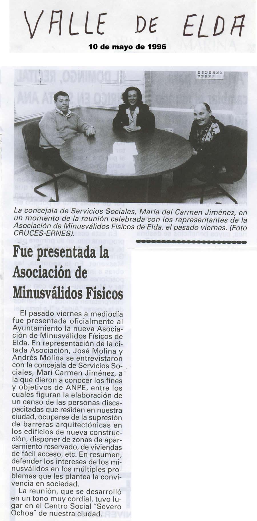 Valle de Elda, 10 de mayo de 1996 Fue presentada la Asociación de Minusválidos Físicos AMFI