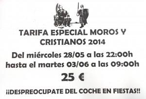 Tarifa especial Moros y Cristianos 2014