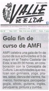 Valle de Elda 2 de mayo de 2014 Gala Fin de Curso de AMFI