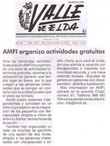 Valle de Elda, 24 de octubre de 2014 AMFI organiza actividades gratuitas
