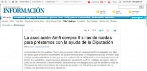 diarioinformacion.com 30 de octubre de 2014 La asociación Amfi compra 6 sillas de ruedas para préstamos con la ayuda de la Diputación
