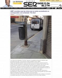 """radioelda.com 24 de noviembre de 2014 AMFI considera que las obras que se están acometiendo no corresponden con la llamada """"Vía Azul"""""""