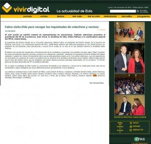 vivirenelda.com 31 de octubre de 2014 Fabra visita Elda para recoger las inquietudes de colectivos y vecinos