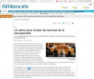 diarioinformacion.com 11 de diciembre de 2014 Un pleno para romper las barreras de la discapacidad