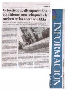 """Diario Información 7 de diciembre de 2014 Colectivos de discapacitados consideran una """"chapuza"""" la mejora de las aceras de Elda"""