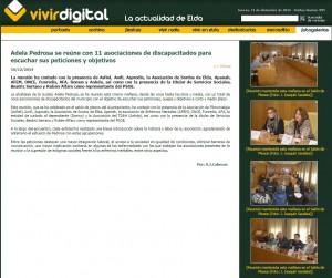 vivirdigital.com 10 de diciembre de 2014 Adela Pedrosa se reúne con 11 asociaciones de discapacitados para escuchar sus peticiones y objetivos