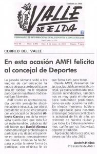 Correo del Valle. Por Andrés Molina Presidente de AMFI En esta ocasión AMFI felicita al concejal de Deportes
