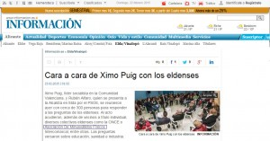 diarioinformacion.com 23 de febrero de 2014 Cara a cara de Ximo Puig con los eldenses