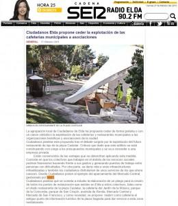 radioelda.com 17 de febrero de 2015 Ciudadanos Elda propone ceder la explotación de las cafeterías municipales a asociaciones