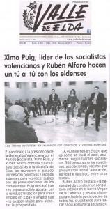 Valle de Elda 27 de febrero de 2015 Ximo Puig, líder de los socialistas valencianos y Rubén Alfaro hacen un tú a tú con los eldenses