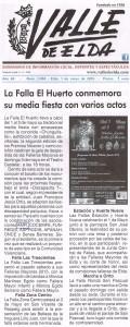 Valle de Elda 1 de mayo de 2015 La Falla El Huerto conmemora su Media Fiesta con varios actos