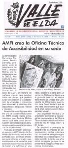 Valle de Elda 1 de mayo de 2015 AMFI crea la Oficina Técnica de Accesibilidad en su sede