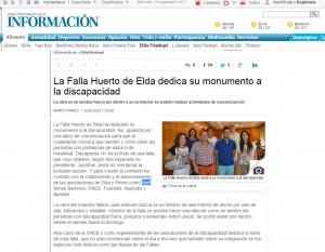 diarioinformacion.com 16 de septiembre de 2015 La Falla Huerto de Elda dedica su monumento a la discapacidad