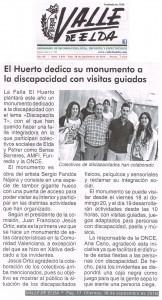 Valle de Elda 18 de septiembre de 2015 El Huerto dedica su monumento a la discapacidad con visitas guiadas