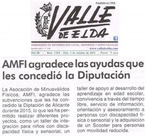 Publicado en Valle de Elda, 2 de octubre de 2015 AMFI agradece las ayudas que le concedió la Diputación