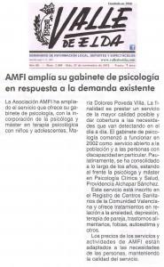 Valle de Elda 27 de noviembre de 2015 AMFI amplía su gabinete de psicología en respuesta a la demanda existente