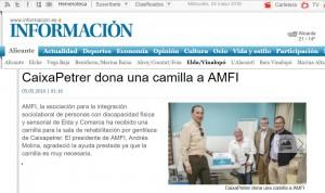 diarioinformacion.com 5 de mayo de 2016 CaixaPetrer dona una camilla a AMFI