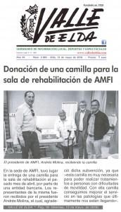 Valle de Elda edición impresa. 13 de mayo de 2016 Donación de una camilla para la sala de rehabilitación de AMFI.