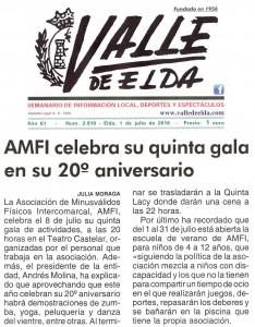 Valle de Elda, edición impresa. 1 de julio de 2016 AMFI celebra su V Gala en su 20º aniversario