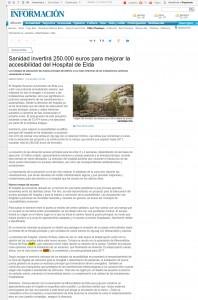 Sanidad invertirá 250.000 euros para mejorar la accesibilidad del Hospital de Elda
