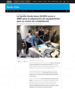 La familia Verdú dona 24.000 euros a AMFI para la adquisición de equipamiento para su centro de rehabilitación