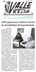 AMFI gestionará la Oficina Técnica de Accesibilidad del Ayuntamiento. Publicado en el semanario local Valle de Elda.
