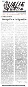 Valle de Elda 5 de enero de 2017 Correo del Valle: Decepción e indignación