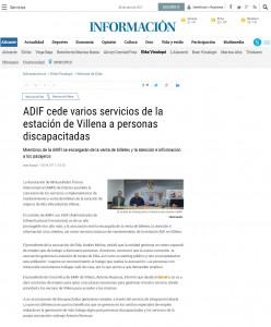 ADIF cede varios servicios de la estación de Villena a personas discapacitadas Miembros de la AMFI se encargarán de la venta de billetes y la atención e información a los pasajeros