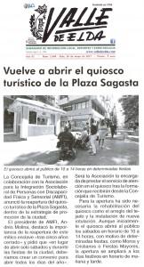 Valle de Elda 26 de mayo de 2017 Vuelve a abrir el quiosco turístico de la Plaza Sagasta