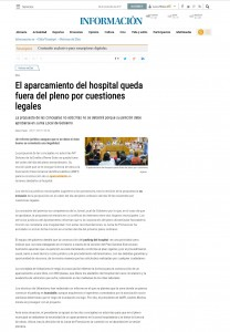 El aparcamiento del hospital queda fuera del pleno por cuestiones legales