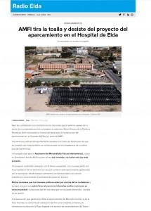 AMFI tira la toalla y desiste del proyecto del aparcamiento en el Hospital de Elda