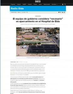 """El equipo de gobierno considera """"necesario"""" es aparcamiento en el Hospital de Elda"""