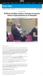 El Pleno de Elda vuelve a rechazar la moción sobre el aparcamiento en el Hospital