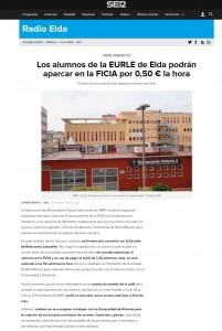 Los alumnos de la EURLE de Elda podrán aparcar en la FICIA por 0,50 € la hora El nuevo acceso podría estar operativo durante este mes