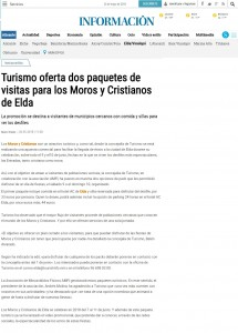Turismo oferta dos paquetes de visitas para los Moros y Cristianos de Elda