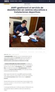 AMFI gestionará el servicio de desinfección en centros educativos e instalaciones deportivas Unanimidad política para aprobar este contrato extraordinario