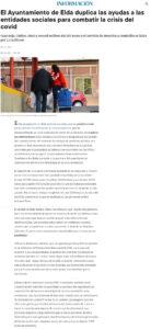 El Ayuntamiento de Elda duplica las ayudas a las entidades sociales para combatir la crisis del covid Cruz Roja, Cáritas, AMFI y Fesord reciben 400.000 euros y el Servicio de Atención a Domicilio se licita por 1,2 millones